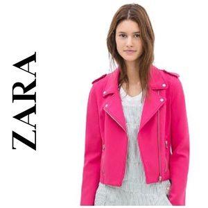 Zara Moto Jacket in Bright Pink sz Large